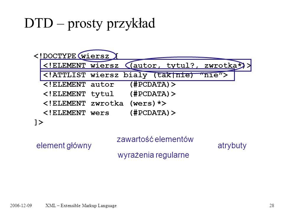 DTD – prosty przykład <!DOCTYPE wiersz [
